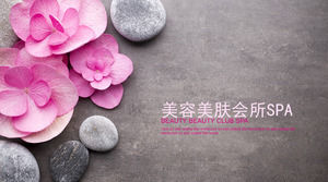 Beauty flowers PPT template with pink flowers cobblestone background
