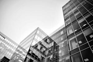 Black and white modern business building PPT background picture
