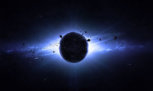 Black background planet Star universe PPT background image