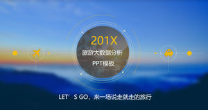 Blue blurred cloud sea background of tourism industry data analysis PPT template