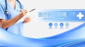 blue doctor nurse background hospital ppt template download