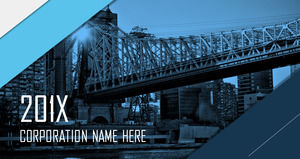 Blue European and American PPT template for bridge building background free download