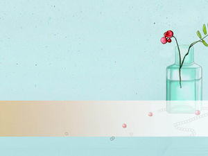 Blue hand-painted bottle floral elegant PPT background picture