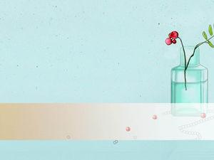 Blue hand-painted bottle floral elegant PPT background picture