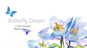 Blue purple bright color flower watercolor painting small fresh beautiful wind ppt template