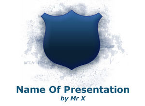 Blue Shiny Shield powerpoint template
