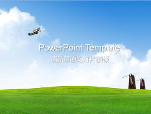 Langit Biru Dan Awan Putih Di Bawah Padang Rumput Pemandangan Alam Powerpoint Template Download Powerpoint Template Free Download