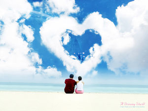 Blue Sky Couple PowerPoint background image