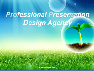 Blue sky grass dew PPT template