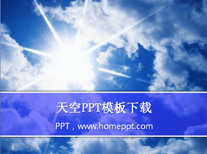 Blue sky under the white clouds PowerPoint template
