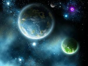 Blue universe sky planet PPT background picture