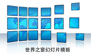 Blue World Map Background Window of the World PPT Template Download