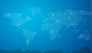 Blue world map city silhouette business PPT background picture