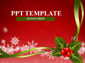 Bright festive red background Christmas PowerPoint template download