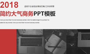 Business PPT template for black and white work scene photo background