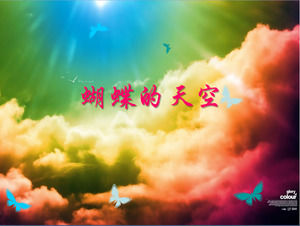 Butterfly sky, blooming love PPT background picture download