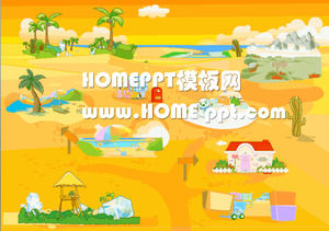 Cartoon background kindergarten courseware PPT template download
