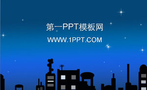 Cartoon city night sky background PPT template download