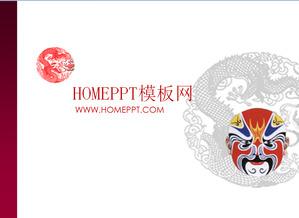 chinese peking opera mask art ppt template download powerpoint