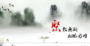 Chinese style PPT template for ink landscape background free download