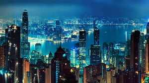 City night view PowerPoint background image
