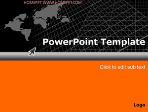 Classic black orange world map PPT template
