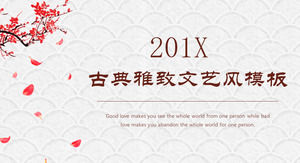 Classic Chinese style PPT template for dynamic plum background free download
