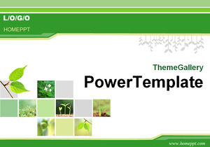 Classic green plant background PPT template download