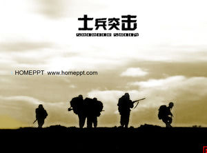Classic soldier assault PPT template download