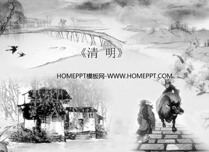 Classical ink - style Chinese style Ching Ming Festival slide template