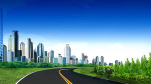 Clean and tidy green city PPT background picture