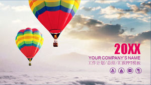 Colorful hot air balloon cover on the cloud Purple distinguished work summary report ppt template