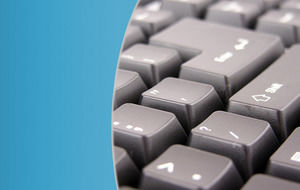 Computer Keyboard with Blue Pattern powerpoint template