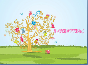 Covered with a gift of lucky tree background cartoon PowerPoint template