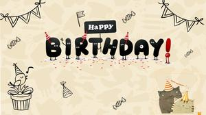 Cute Cartoon Wish You A Happy Birthday Ppt Template Powerpoint Templates Free Download