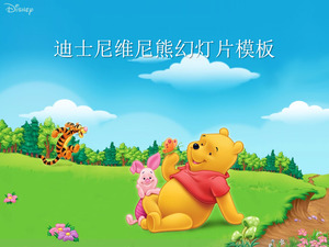 Cute Disney Winnie Bear Background Cartoon Slideshow Template