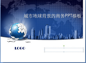 Dark blue city building with business background of the earth PPT template