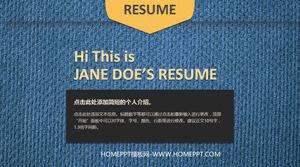 Denim style job resume PPT template