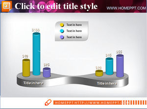 Dimensional PPT bar chart template download