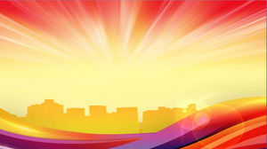 Dynamic dazzling city silhouette PPT background picture