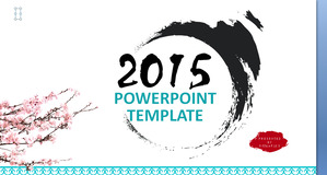 Dynamic ink plum blossom Chinese style PPT template download