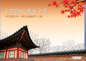 Dynamic maple leaf fluttering Korean ancient building PPT template download
