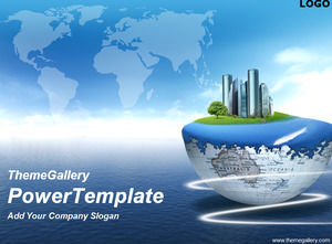 Earth fantasy island PPT natural template
