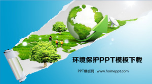 Earth Grass Background Environmental Protection PowerPoint Template Download
