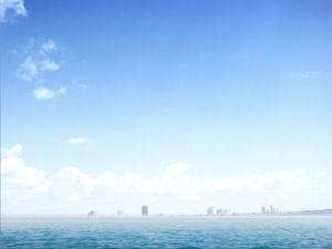 Elegant Blue Ocean Sea Level PowerPoint Background Image Download