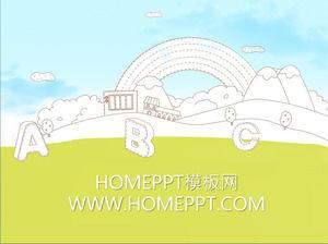 Elegant cartoon education PPT template download
