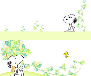 Elegant cartoon puppy vines foliage PPT background picture