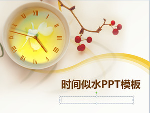 Elegant clock background time like water PPT template