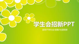 Elegant flower student will recruit new PPT template