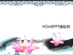 Elegant lotus ink style PPT template download